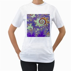 Sea Shell Spiral, Abstract Violet Cyan Stars Women s T-Shirt (White)