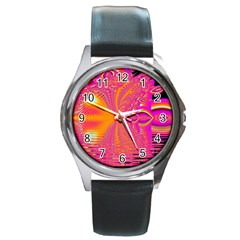 Magenta Boardwalk Carnival, Abstract Ocean Shimmer Round Leather Watch (Silver Rim)