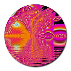 Magenta Boardwalk Carnival, Abstract Ocean Shimmer 8  Mouse Pad (Round)