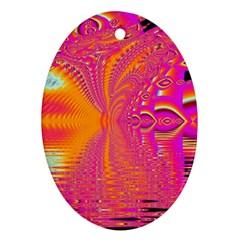 Magenta Boardwalk Carnival, Abstract Ocean Shimmer Oval Ornament