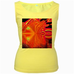 Magenta Boardwalk Carnival, Abstract Ocean Shimmer Women s Tank Top (Yellow)
