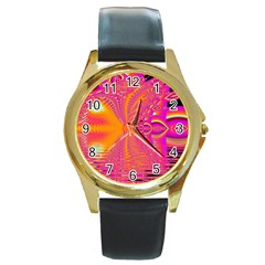 Magenta Boardwalk Carnival, Abstract Ocean Shimmer Round Leather Watch (gold Rim)
