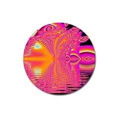 Magenta Boardwalk Carnival, Abstract Ocean Shimmer Magnet 3  (Round)