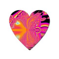 Magenta Boardwalk Carnival, Abstract Ocean Shimmer Magnet (Heart)