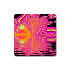Magenta Boardwalk Carnival, Abstract Ocean Shimmer Magnet (Square)