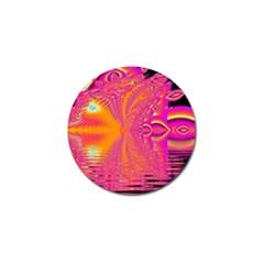 Magenta Boardwalk Carnival, Abstract Ocean Shimmer Golf Ball Marker 4 Pack
