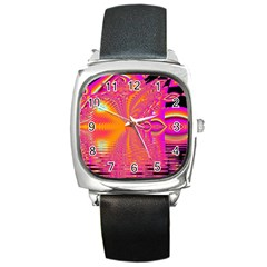 Magenta Boardwalk Carnival, Abstract Ocean Shimmer Square Leather Watch