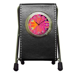 Magenta Boardwalk Carnival, Abstract Ocean Shimmer Stationery Holder Clock
