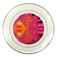 Magenta Boardwalk Carnival, Abstract Ocean Shimmer Porcelain Display Plate