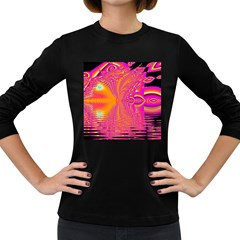 Magenta Boardwalk Carnival, Abstract Ocean Shimmer Women s Long Sleeve T-shirt (Dark Colored)