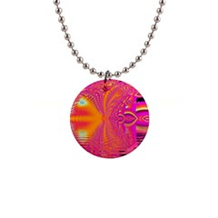 Magenta Boardwalk Carnival, Abstract Ocean Shimmer Button Necklace