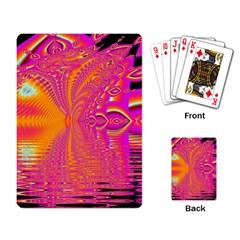 Magenta Boardwalk Carnival, Abstract Ocean Shimmer Playing Cards Single Design