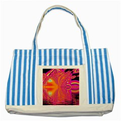 Magenta Boardwalk Carnival, Abstract Ocean Shimmer Blue Striped Tote Bag