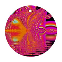 Magenta Boardwalk Carnival, Abstract Ocean Shimmer Round Ornament (Two Sides)