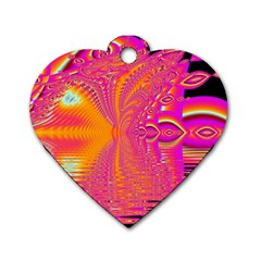 Magenta Boardwalk Carnival, Abstract Ocean Shimmer Dog Tag Heart (Two Sided)