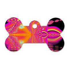 Magenta Boardwalk Carnival, Abstract Ocean Shimmer Dog Tag Bone (Two Sided)