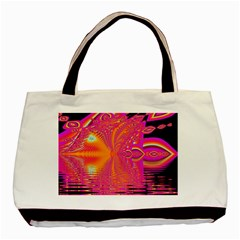 Magenta Boardwalk Carnival, Abstract Ocean Shimmer Twin Sided Black Tote Bag