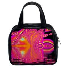 Magenta Boardwalk Carnival, Abstract Ocean Shimmer Classic Handbag (two Sides)