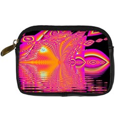 Magenta Boardwalk Carnival, Abstract Ocean Shimmer Digital Camera Leather Case