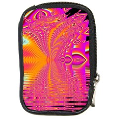 Magenta Boardwalk Carnival, Abstract Ocean Shimmer Compact Camera Leather Case