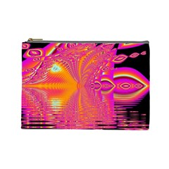 Magenta Boardwalk Carnival, Abstract Ocean Shimmer Cosmetic Bag (Large)