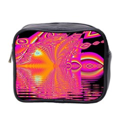 Magenta Boardwalk Carnival, Abstract Ocean Shimmer Mini Travel Toiletry Bag (two Sides)
