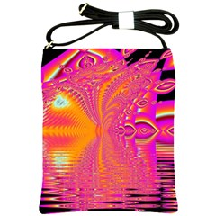 Magenta Boardwalk Carnival, Abstract Ocean Shimmer Shoulder Sling Bag