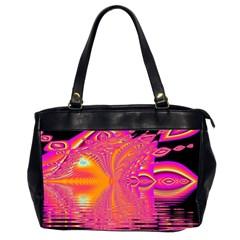 Magenta Boardwalk Carnival, Abstract Ocean Shimmer Oversize Office Handbag (Two Sides)