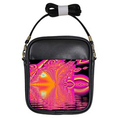 Magenta Boardwalk Carnival, Abstract Ocean Shimmer Girl s Sling Bag