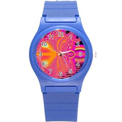 Magenta Boardwalk Carnival, Abstract Ocean Shimmer Plastic Sport Watch (Small)
