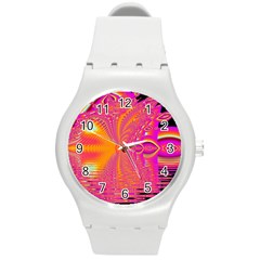 Magenta Boardwalk Carnival, Abstract Ocean Shimmer Plastic Sport Watch (Medium)