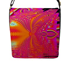 Magenta Boardwalk Carnival, Abstract Ocean Shimmer Flap Closure Messenger Bag (Large)