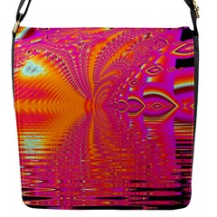 Magenta Boardwalk Carnival, Abstract Ocean Shimmer Flap Closure Messenger Bag (Small)