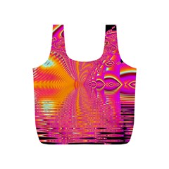Magenta Boardwalk Carnival, Abstract Ocean Shimmer Reusable Bag (S)