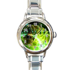 Dawn Of Time, Abstract Lime & Gold Emerge Round Italian Charm Watch