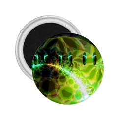 Dawn Of Time, Abstract Lime & Gold Emerge 2.25  Button Magnet