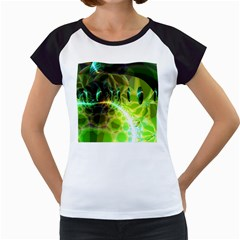 Dawn Of Time, Abstract Lime & Gold Emerge Women s Cap Sleeve T-Shirt (White)