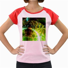 Dawn Of Time, Abstract Lime & Gold Emerge Women s Cap Sleeve T Shirt (colored)