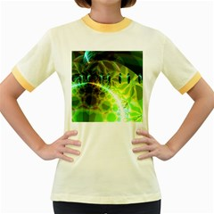 Dawn Of Time, Abstract Lime & Gold Emerge Women s Ringer T Shirt (colored)