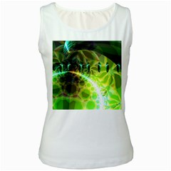 Dawn Of Time, Abstract Lime & Gold Emerge Women s Tank Top (white)
