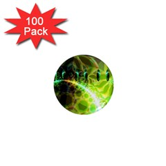 Dawn Of Time, Abstract Lime & Gold Emerge 1  Mini Button Magnet (100 Pack)