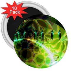 Dawn Of Time, Abstract Lime & Gold Emerge 3  Button Magnet (10 pack)