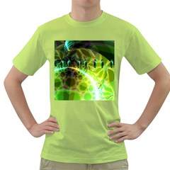Dawn Of Time, Abstract Lime & Gold Emerge Men s T-shirt (Green)
