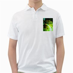 Dawn Of Time, Abstract Lime & Gold Emerge Men s Polo Shirt (White)