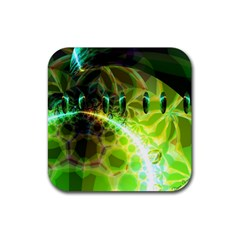 Dawn Of Time, Abstract Lime & Gold Emerge Drink Coasters 4 Pack (Square)