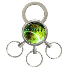 Dawn Of Time, Abstract Lime & Gold Emerge 3 Ring Key Chain