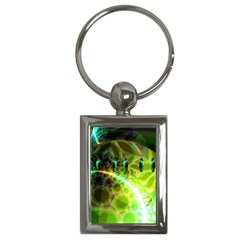 Dawn Of Time, Abstract Lime & Gold Emerge Key Chain (Rectangle)