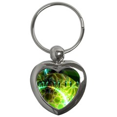 Dawn Of Time, Abstract Lime & Gold Emerge Key Chain (Heart)
