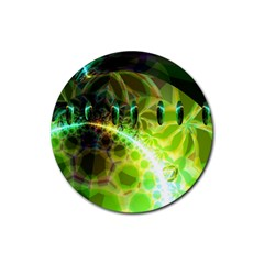 Dawn Of Time, Abstract Lime & Gold Emerge Drink Coasters 4 Pack (round)