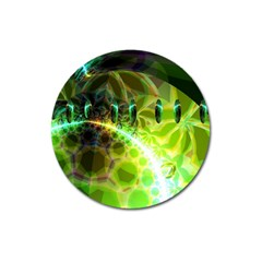 Dawn Of Time, Abstract Lime & Gold Emerge Magnet 3  (Round)